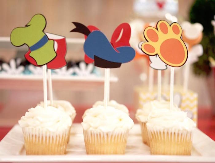 Cupcakes with Mickey Mouse character hat sticks from a Mickey Mouse 1st Birthday Party on Kara's Party Ideas | KarasPartyIdeas.com (26)
