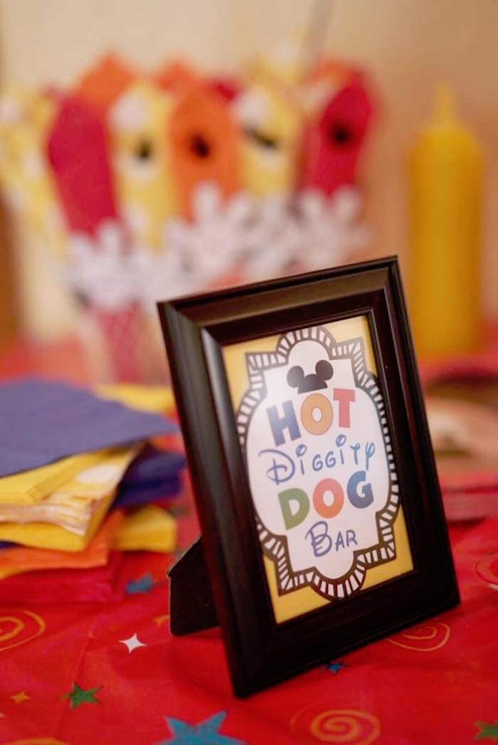 Party sign from a Mickey Mouse 1st Birthday Party on Kara's Party Ideas | KarasPartyIdeas.com (24)