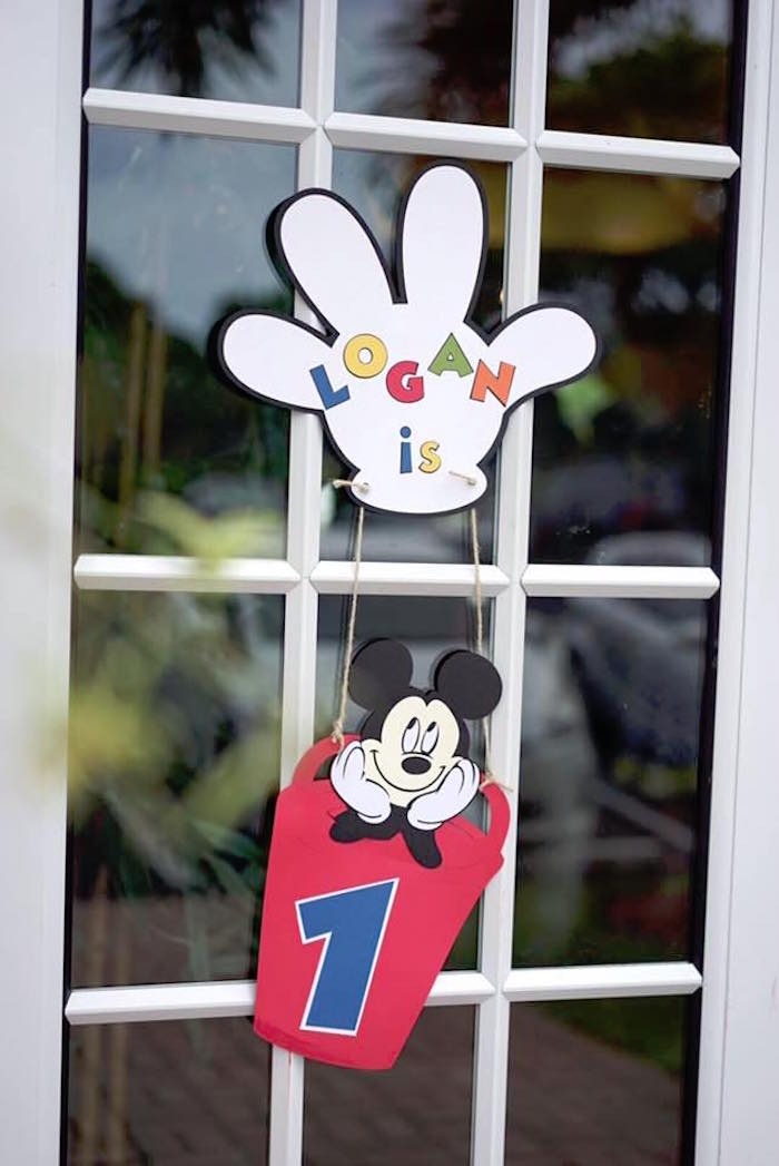 Mickey Mouse party signage from a Mickey Mouse 1st Birthday Party on Kara's Party Ideas | KarasPartyIdeas.com (21)