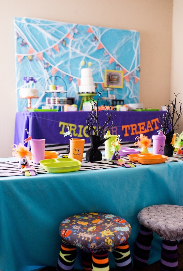 Party tables from a Monster Mash Halloween Party on Kara's Party Ideas   KarasPartyIdeas.com (59)