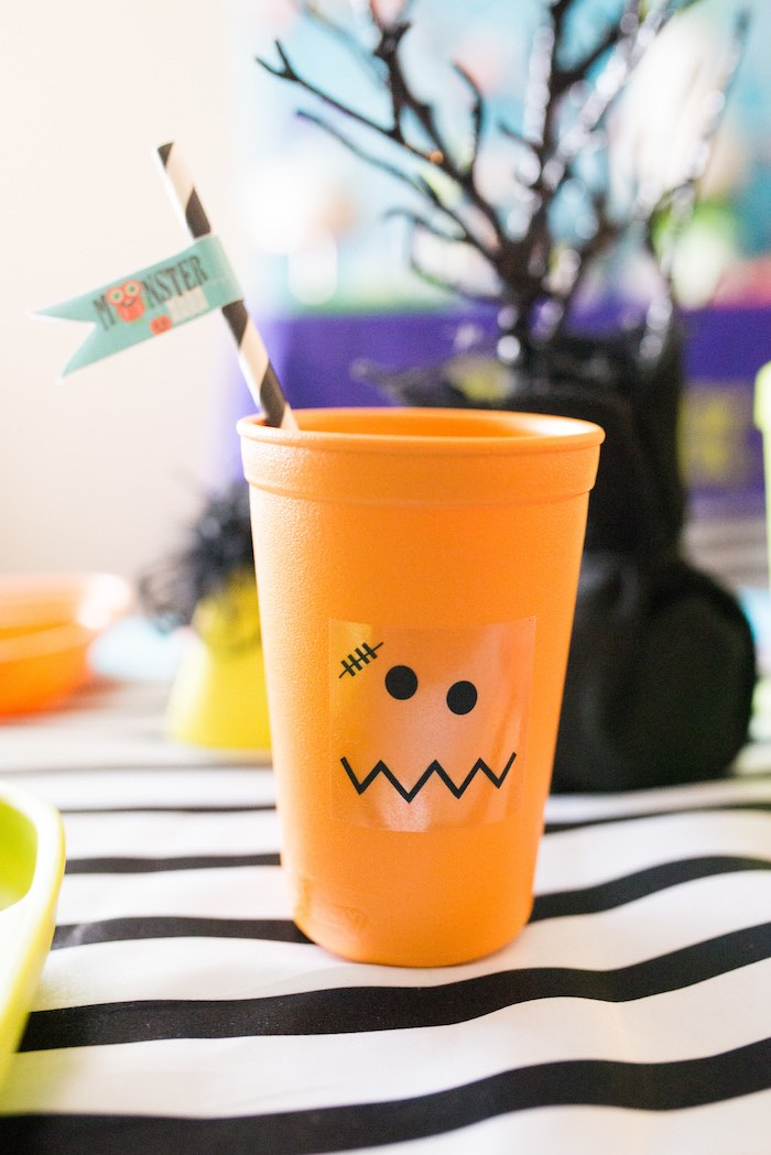 Monster cup from a Monster Mash Halloween Party on Kara's Party Ideas   KarasPartyIdeas.com (55)