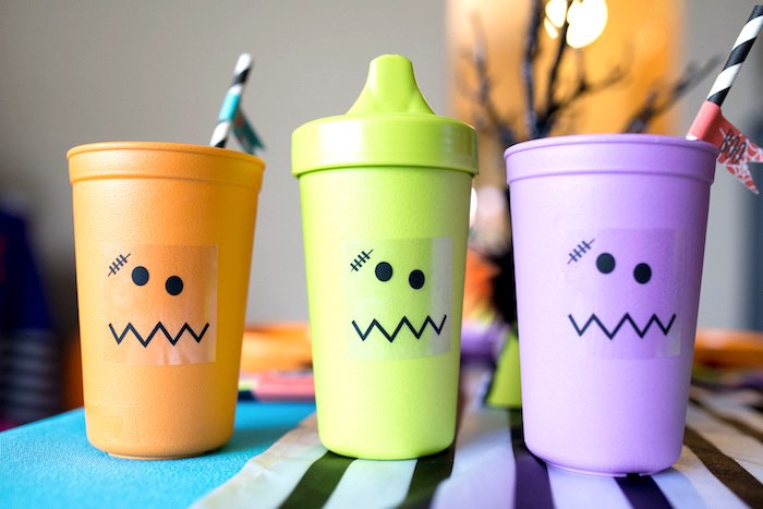 Monster cups from a Monster Mash Halloween Party on Kara's Party Ideas   KarasPartyIdeas.com (53)