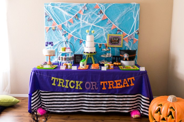 Trick or Treat Sweet Table from a Monster Mash Halloween Party on Kara's Party Ideas   KarasPartyIdeas.com (50)