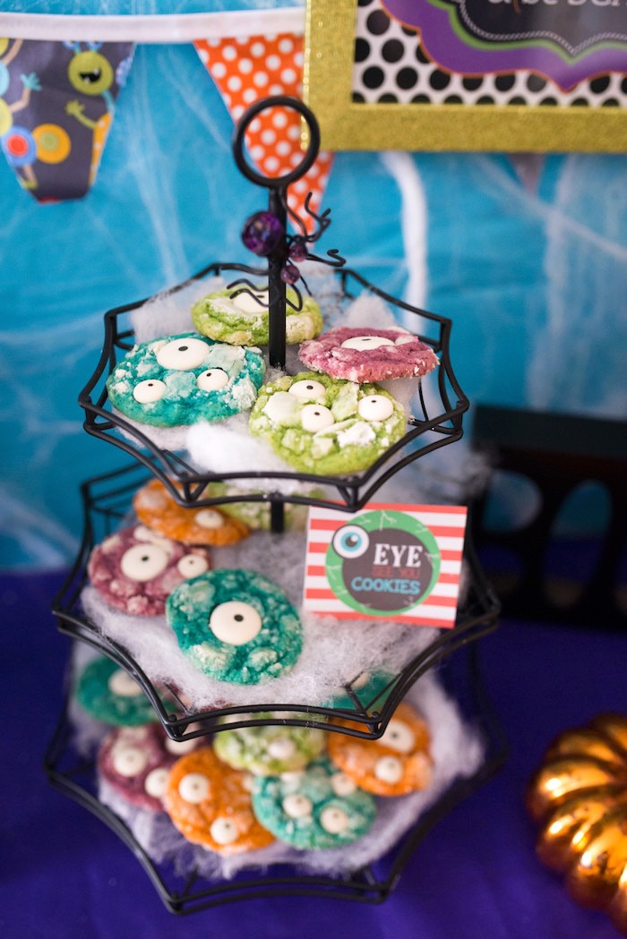 Eyeball monster cookies from a Monster Mash Halloween Party on Kara's Party Ideas   KarasPartyIdeas.com (44)