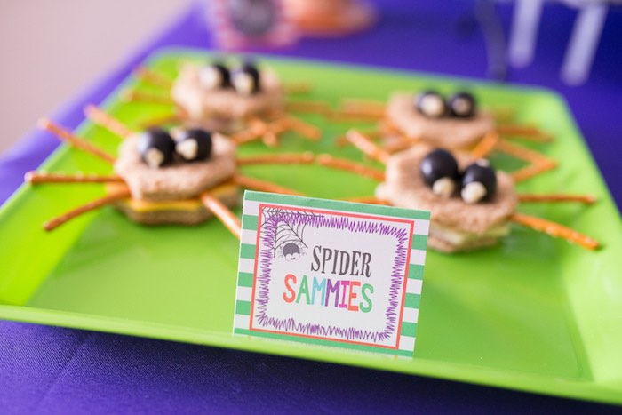 Spider Sammies from a Monster Mash Halloween Party on Kara's Party Ideas   KarasPartyIdeas.com (37)