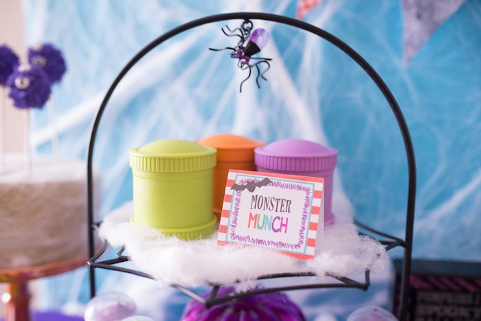 """""""Monster Munch"""" snack cups from a Monster Mash Halloween Party on Kara's Party Ideas   KarasPartyIdeas.com (36)"""