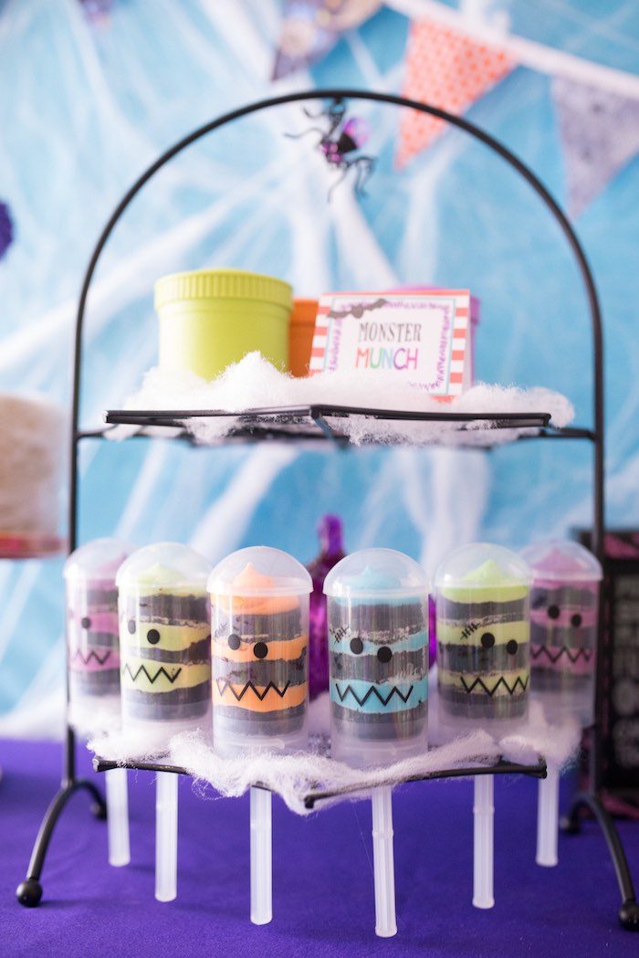 Monster push pops and snack cups from a Monster Mash Halloween Party on Kara's Party Ideas   KarasPartyIdeas.com (35)