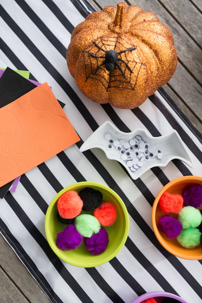 Craft supplies from a Monster Mash Halloween Party on Kara's Party Ideas   KarasPartyIdeas.com (69)