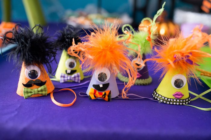Monster party hats from a Monster Mash Halloween Party on Kara's Party Ideas   KarasPartyIdeas.com (11)