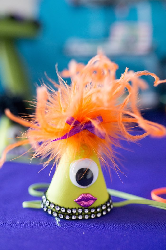 Monster party hat from a Monster Mash Halloween Party on Kara's Party Ideas   KarasPartyIdeas.com (7)