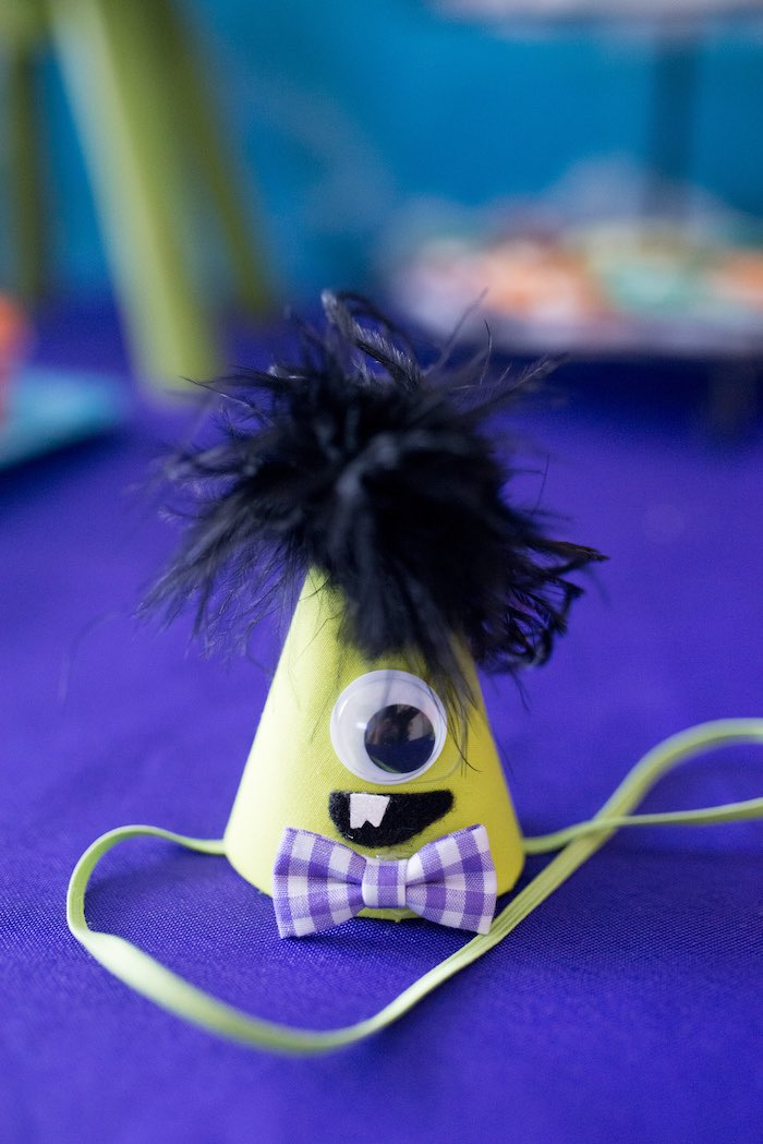 Monster party hat from a Monster Mash Halloween Party on Kara's Party Ideas   KarasPartyIdeas.com (6)