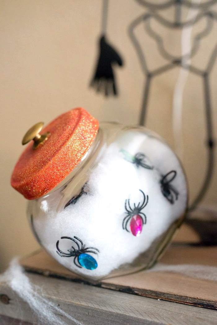 Spider jar from a Monster Mash Halloween Party on Kara's Party Ideas   KarasPartyIdeas.com (65)