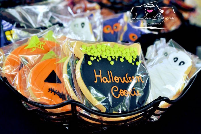 Halloween cookies from an Orange + Purple & Black Halloween Party on Kara's Party Ideas | KarasPartyIdeas.com (66)