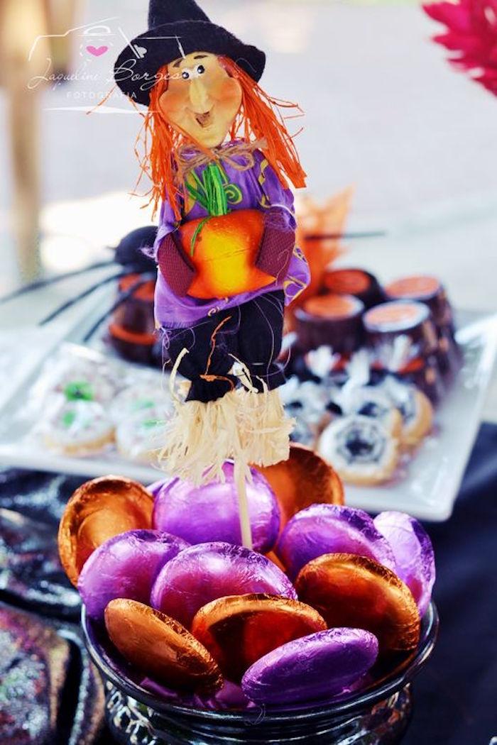 Orange + purple tinfoil wrapped lollipops from an Orange + Purple & Black Halloween Party on Kara's Party Ideas | KarasPartyIdeas.com (65)