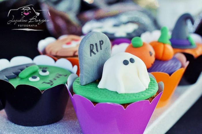 Ghost in the graveyard cupcake from an Orange + Purple & Black Halloween Party on Kara's Party Ideas | KarasPartyIdeas.com (64)