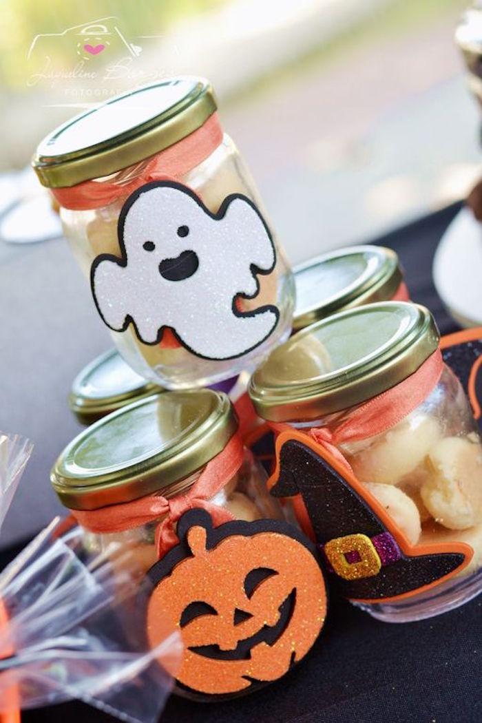 Halloween favor jars from an Orange + Purple & Black Halloween Party on Kara's Party Ideas | KarasPartyIdeas.com (63)