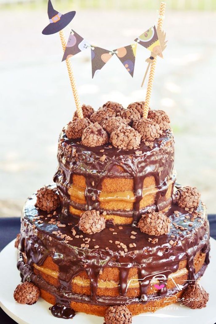 Chocolate drizzled naked cake from an Orange + Purple & Black Halloween Party on Kara's Party Ideas | KarasPartyIdeas.com (62)