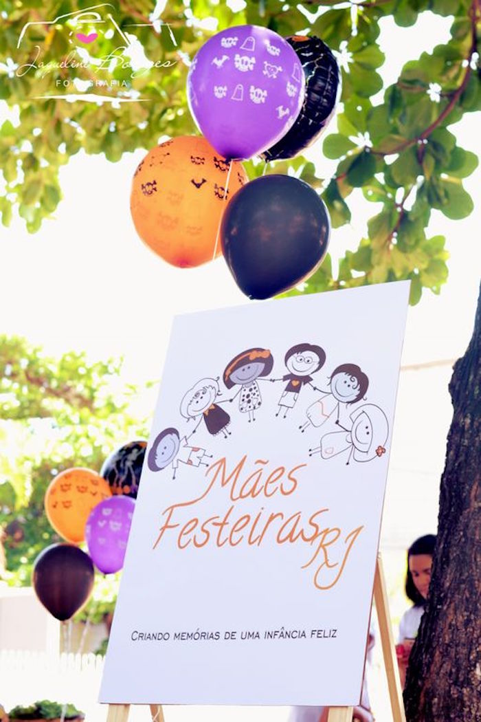 Party sign from an Orange + Purple & Black Halloween Party on Kara's Party Ideas | KarasPartyIdeas.com (61)