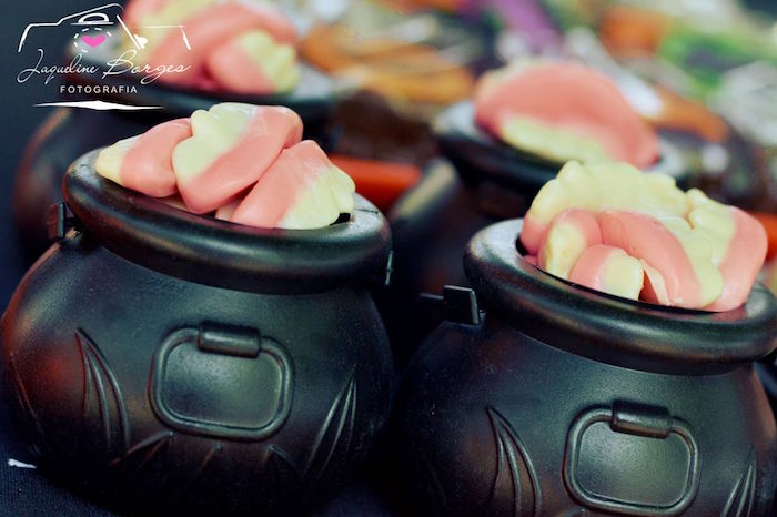 Cauldrons filled with gummy vampire teeth from an Orange + Purple & Black Halloween Party on Kara's Party Ideas | KarasPartyIdeas.com (59)