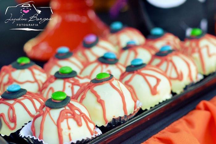 Eyeball truffles from an Orange + Purple & Black Halloween Party on Kara's Party Ideas | KarasPartyIdeas.com (58)