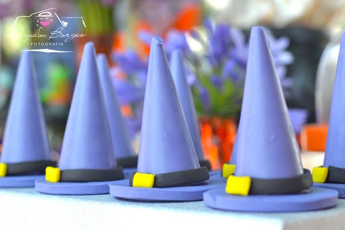 Witch Hat Cakes from an Orange + Purple & Black Halloween Party on Kara's Party Ideas | KarasPartyIdeas.com (57)