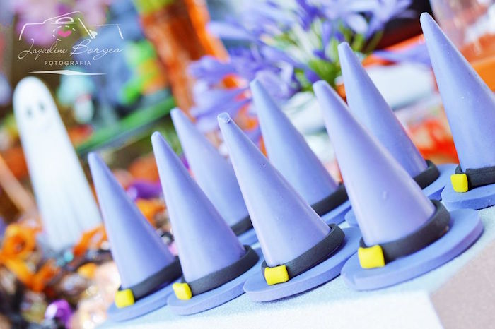 Witch Hats from an Orange + Purple & Black Halloween Party on Kara's Party Ideas | KarasPartyIdeas.com (56)