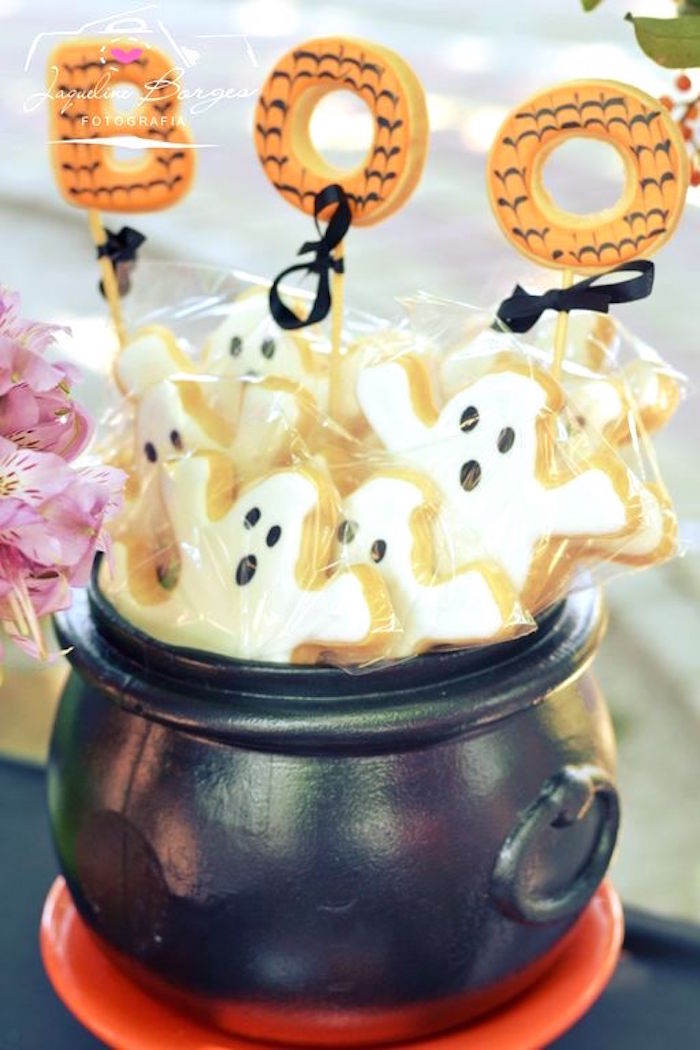 Ghost cookies from an Orange + Purple & Black Halloween Party on Kara's Party Ideas | KarasPartyIdeas.com (55)