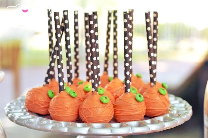 Halloween cake pops from an Orange + Purple & Black Halloween Party on Kara's Party Ideas | KarasPartyIdeas.com (54)