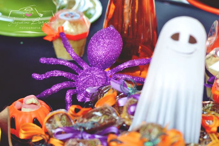 Purple glitter spider from an Orange + Purple & Black Halloween Party on Kara's Party Ideas | KarasPartyIdeas.com (53)