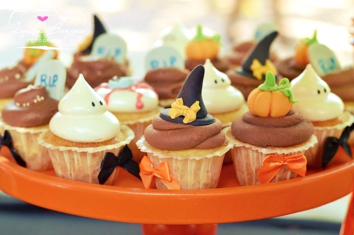 Halloween cupcakes from an Orange + Purple & Black Halloween Party on Kara's Party Ideas | KarasPartyIdeas.com (52)