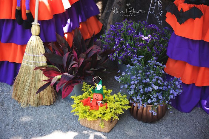 Flowers + broomstick from an Orange + Purple & Black Halloween Party on Kara's Party Ideas | KarasPartyIdeas.com (48)