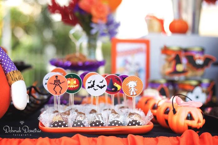 Brigadeiros from an Orange + Purple & Black Halloween Party on Kara's Party Ideas | KarasPartyIdeas.com (45)