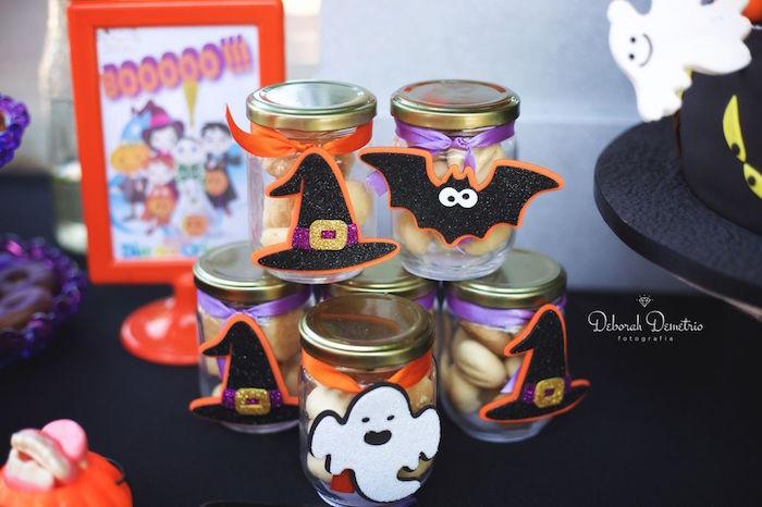 Halloween favor jars from an Orange + Purple & Black Halloween Party on Kara's Party Ideas | KarasPartyIdeas.com (44)
