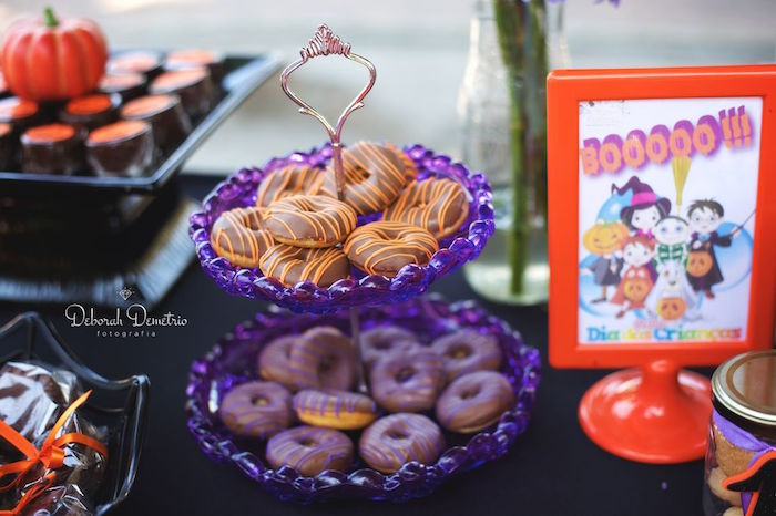 Mini donuts from an Orange + Purple & Black Halloween Party on Kara's Party Ideas | KarasPartyIdeas.com (43)