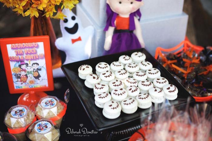 Creepy skeleton macarons from an Orange + Purple & Black Halloween Party on Kara's Party Ideas | KarasPartyIdeas.com (41)