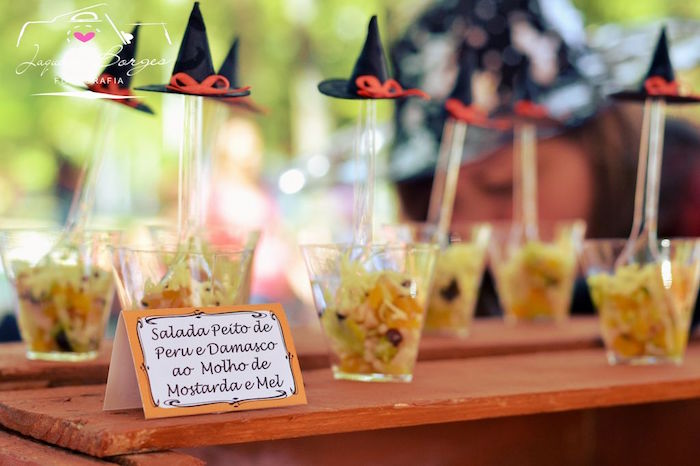 Witch hat topped salads from an Orange + Purple & Black Halloween Party on Kara's Party Ideas | KarasPartyIdeas.com (76)