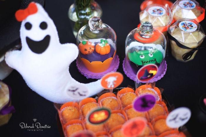 Jack-O-Lantern & Frankenstein cupcakes from an Orange + Purple & Black Halloween Party on Kara's Party Ideas | KarasPartyIdeas.com (39)
