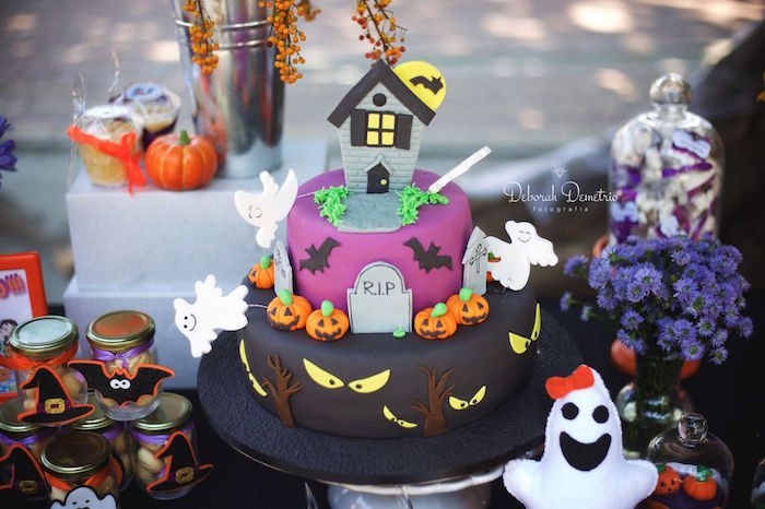 Haunted House Cake from an Orange + Purple & Black Halloween Party on Kara's Party Ideas | KarasPartyIdeas.com (38)
