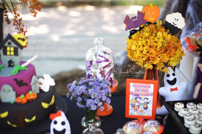Halloween table details from an Orange + Purple & Black Halloween Party on Kara's Party Ideas | KarasPartyIdeas.com (37)
