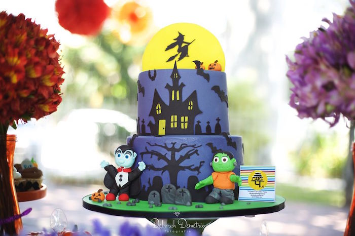Haunted Mansion Cake from an Orange + Purple & Black Halloween Party on Kara's Party Ideas | KarasPartyIdeas.com (34)