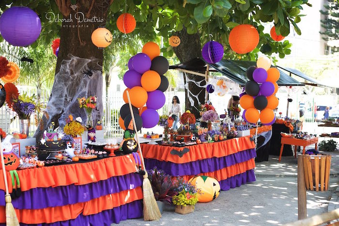 Party tables from an Orange + Purple & Black Halloween Party on Kara's Party Ideas | KarasPartyIdeas.com (32)