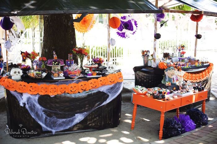 Party tables from an Orange + Purple & Black Halloween Party on Kara's Party Ideas | KarasPartyIdeas.com (31)
