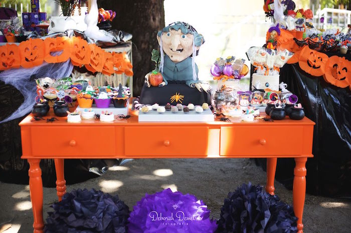 Witch table from an Orange + Purple & Black Halloween Party on Kara's Party Ideas | KarasPartyIdeas.com (30)