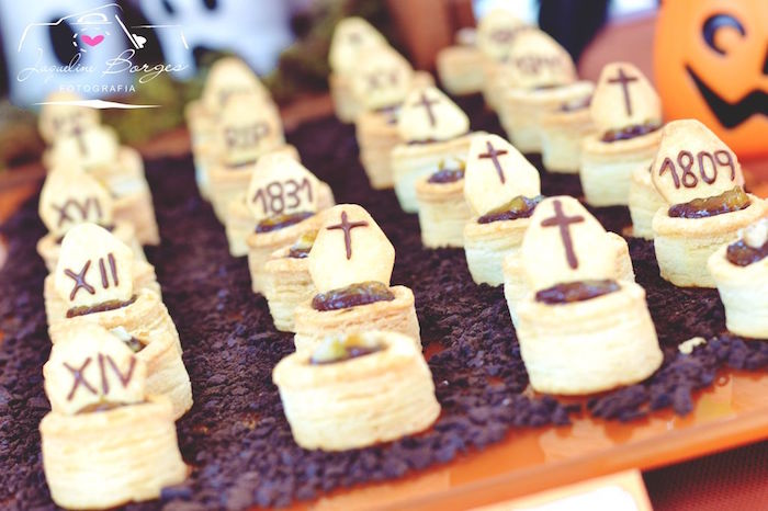 Headstone sweets from an Orange + Purple & Black Halloween Party on Kara's Party Ideas | KarasPartyIdeas.com (75)