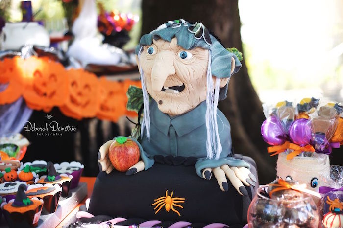 Witch cake from an Orange + Purple & Black Halloween Party on Kara's Party Ideas | KarasPartyIdeas.com (29)