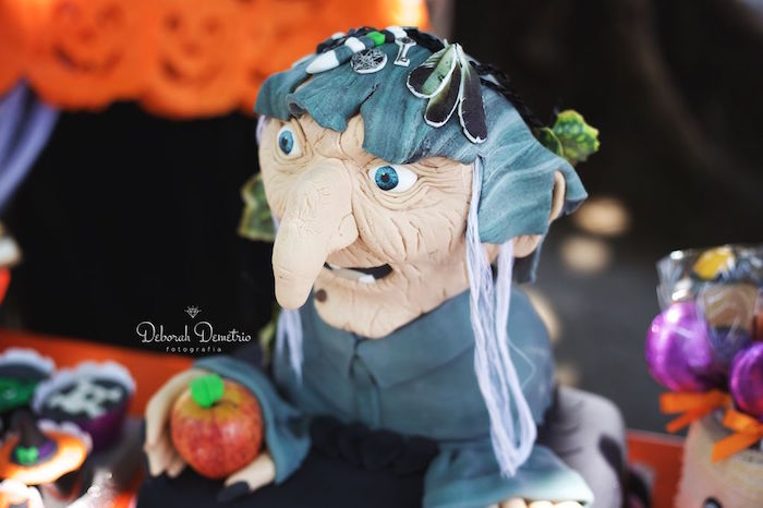Witch head cake from an Orange + Purple & Black Halloween Party on Kara's Party Ideas | KarasPartyIdeas.com (28)