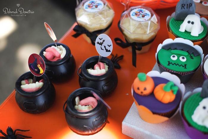 Cauldrons of vampire teeth from an Orange + Purple & Black Halloween Party on Kara's Party Ideas | KarasPartyIdeas.com (26)