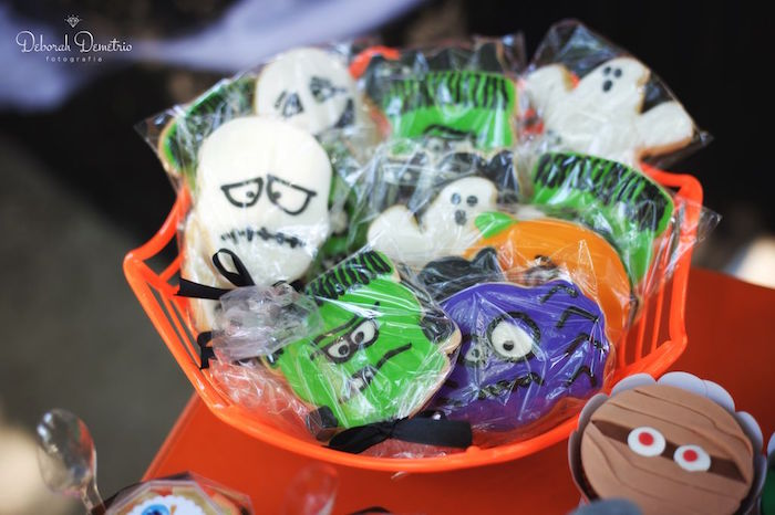 Ghouls and goblin cookies from an Orange + Purple & Black Halloween Party on Kara's Party Ideas | KarasPartyIdeas.com (25)
