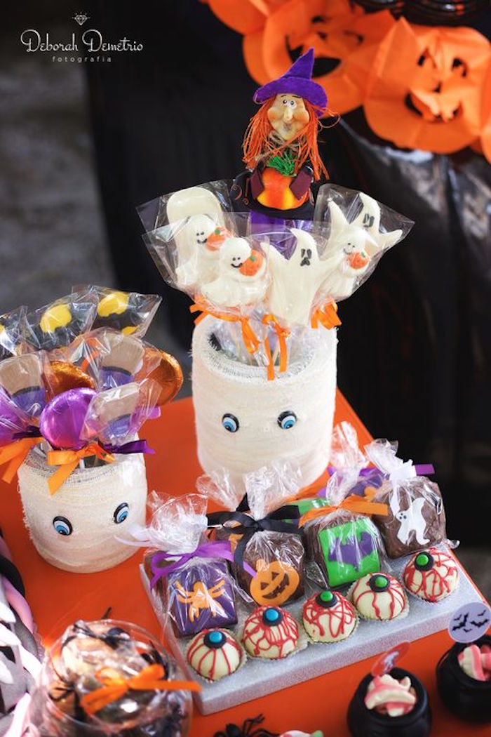 Lollipops, truffles and sweets from an Orange + Purple & Black Halloween Party on Kara's Party Ideas | KarasPartyIdeas.com (24)