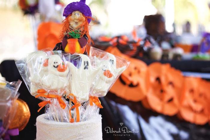 Ghost lollipops from an Orange + Purple & Black Halloween Party on Kara's Party Ideas | KarasPartyIdeas.com (23)